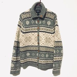 Eddie Bauer Fair isle Vintage Cardigan Sweater